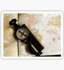 Old map and compass - traveler style Sticker