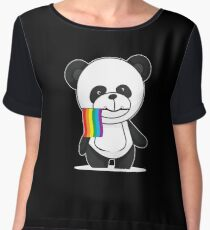Gay Pride Panda Shirt Chiffon Top