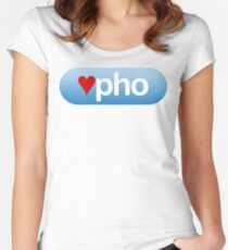 heart pho button Women's Fitted Scoop T-Shirt