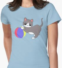 Cat and Ball Women's Fitted T-Shirt