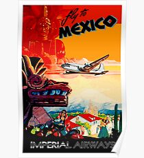IMPERIAL AIRWAYS : Fly to Mexico Print Poster