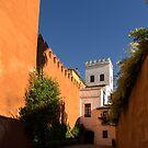 Quintessential Spain - Imposing Walls and Crenelated Towers in Barrio Santa Cruz Seville by Georgia Mizuleva