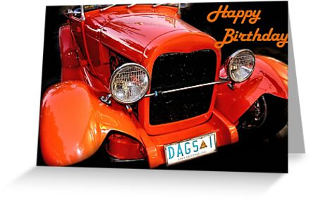 Greeting Card Happy Birthday Vintage Car Greeting Cards By
