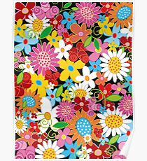 Whimsical Spring Flowers Power Garden Poster