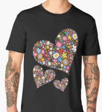 Whimsical Spring Flowers Valentine Hearts Trio Men's Premium T-Shirt