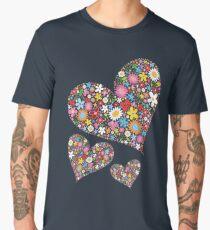 Whimsical Spring Flowers Valentine Hearts Trio Men's Premium T-Shirt
