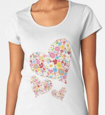 Whimsical Spring Flowers Valentine Hearts Trio Women's Premium T-Shirt