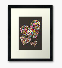 Whimsical Spring Flowers Valentine Hearts Trio Framed Print