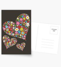 Whimsical Spring Flowers Valentine Hearts Trio Postcards