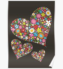 Whimsical Spring Flowers Valentine Hearts Trio Poster