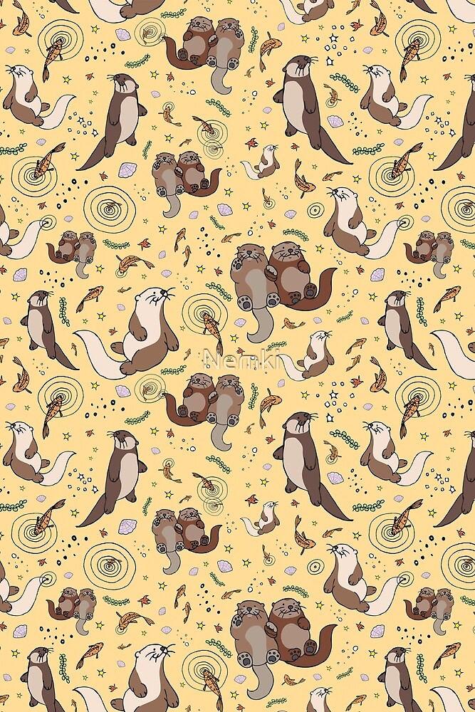 Otters in Yellow by Nemki
