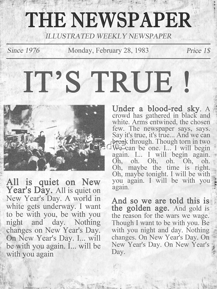 U2 New Years Day Newspaper Greeting Card By Clad63 Redbubble