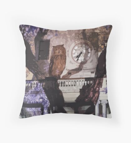 Owls in the Clocktower Throw Pillow