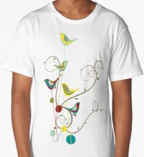 Colorful Whimsical Summer Red, Teal and Yellow Birds with Swirls Long T-Shirt
