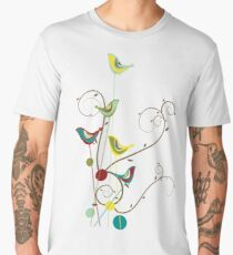 Colorful Whimsical Summer Red, Teal and Yellow Birds with Swirls Men's Premium T-Shirt