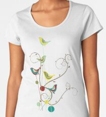 Colorful Whimsical Summer Red, Teal and Yellow Birds with Swirls Women's Premium T-Shirt