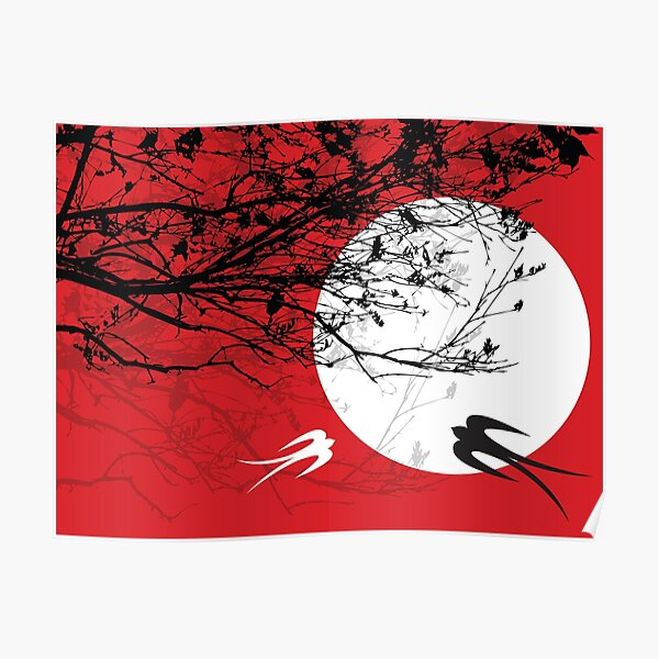 Oriental Swallows And Black Silhouette Branches In Moonlight On Red Poster