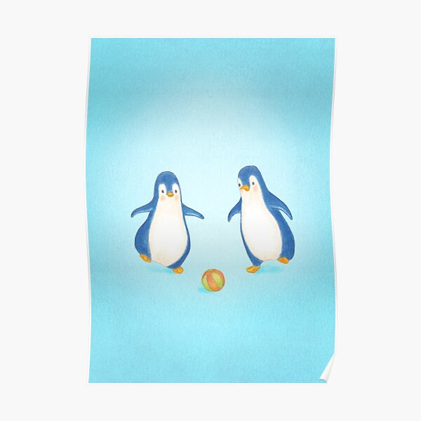 cute penguins playing football Poster