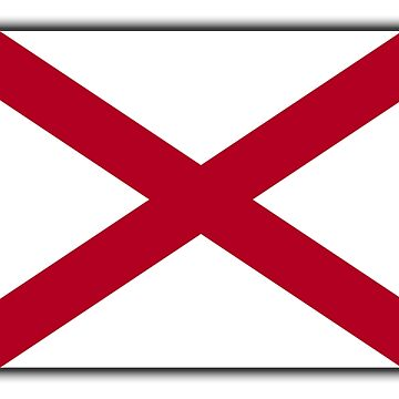 ALABAMA, American Flags, Alabama Flag, Flag of Alabama, on WHITE, State flags, Southern states, America, USA, American, Americana by TOMSREDBUBBLE