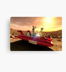 Retro Sci-Fi Sunset on Mars Canvas Print
