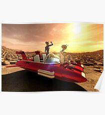 Retro Sci-Fi Sunset on Mars Poster