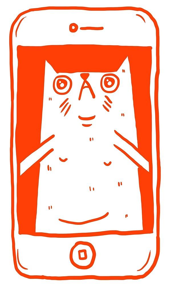 Cat Taking A Selfie (Orange) by Floperrydraws