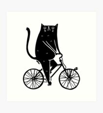 Cat On A Bike (Black) Art Print