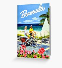 Bermuda, Happy couple bicycling by the coast, vintage travel poster Greeting Card