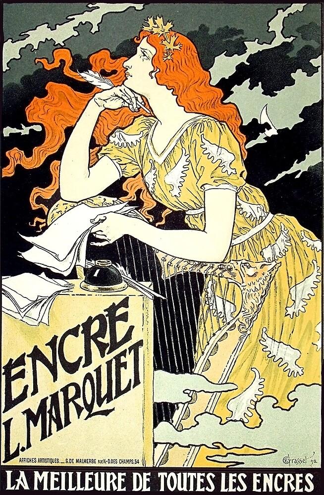 art nouveau, redhead woman writing romantic letter, vintage poster by AmorOmniaVincit