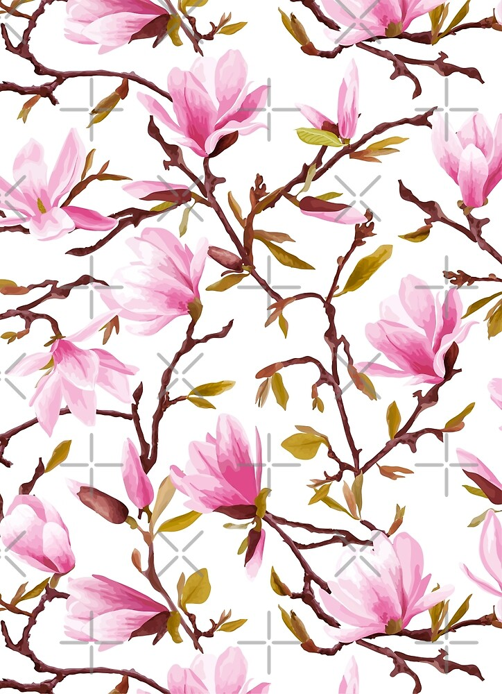 Pink Magnolia Patter Spring Blossom by artonwear