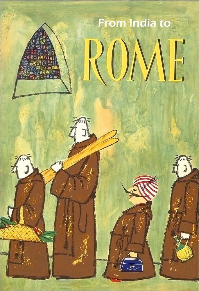 From India to Rome, airline, vintage travel poster by AmorOmniaVincit
