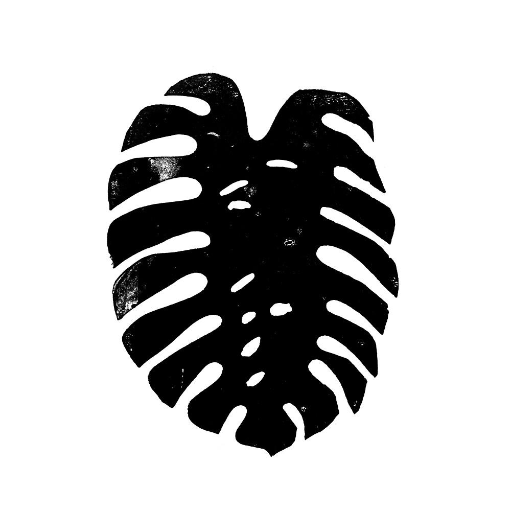Linocut monstera tropical leaf black and white printmaking minimalist carving  by monooprints