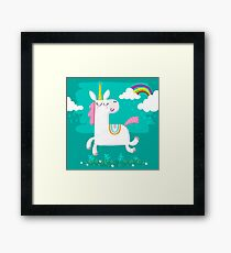 Unicorn and Rainbow Framed Print