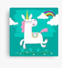 Unicorn and Rainbow Canvas Print