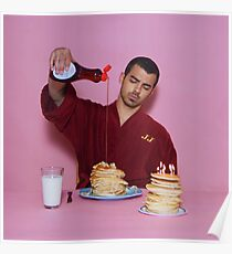 Joe Jonas pouring syrup over some pancakes SQUARE! Poster