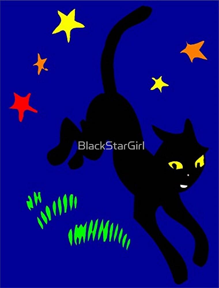 Black Cat and Magic Stars by BlackStarGirl