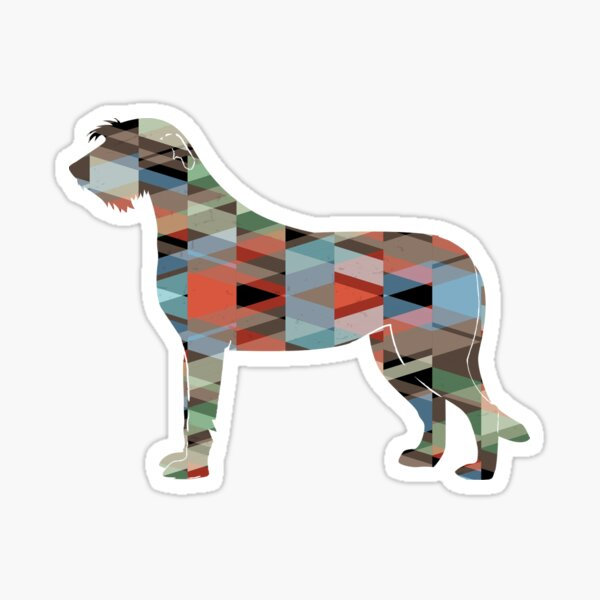 Irish Wolfhound - Geometric Pattern Silhouette Plaid Sticker