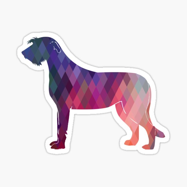 Irish Wolfhound - Geometric Pattern Silhouette Pink Sticker