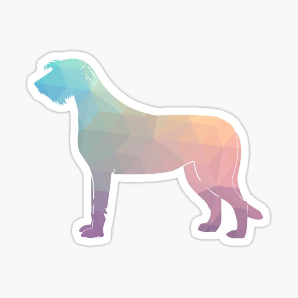 Irish Wolfhound - Geometric Pattern Silhouette Pastel Sticker