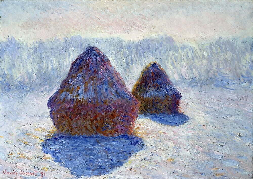 Claude Monet Haystacks in Snow and Sun by pdgraphics