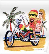 Rasta Ron cruising on Harley Poster