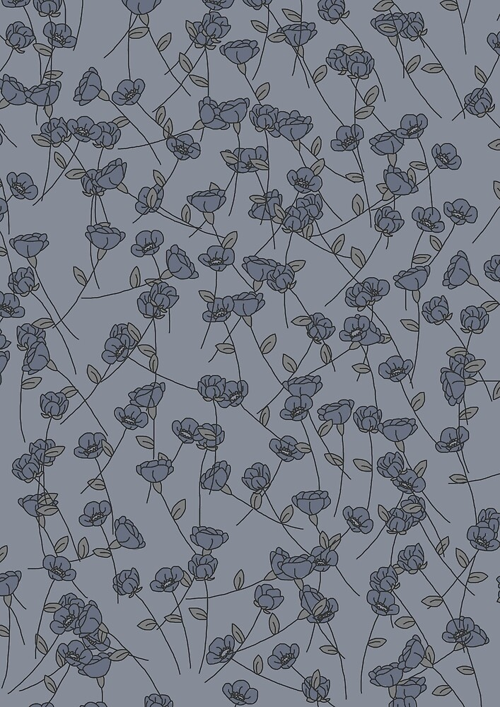 Blue Floral Print by emily  gaskin