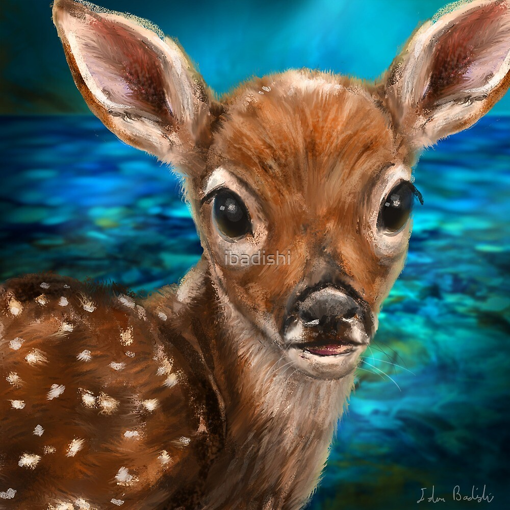 Cute White Tailed Deer - Digital Painting by ibadishi