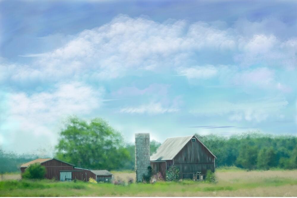 Farmstead Under Blue Skies by MaryTimman