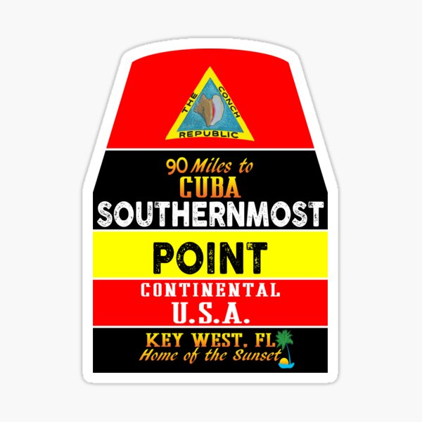 Key West Florida Buoy Sounthernmost Point USA Marker Conch Republic Sticker