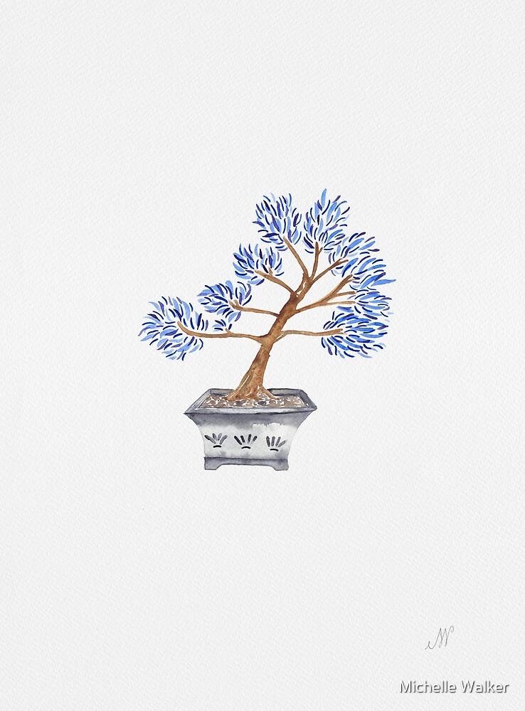 My husband's bonsai 02 in blue by Michelle Walker