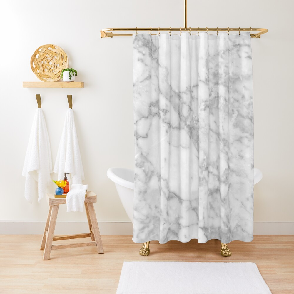 White marble Shower Curtain