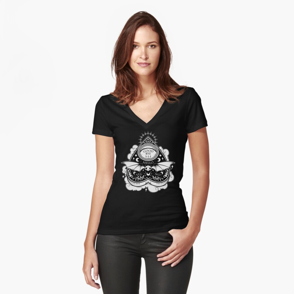 OUIJA Horror Fitted V-Neck T-Shirt