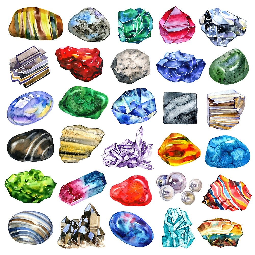 Watercolor minerals and gems collection isolated on white background by NataliMya