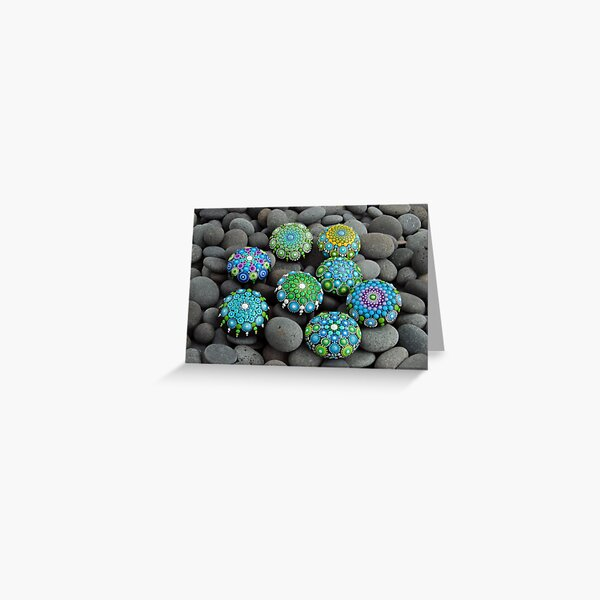 Blues -greens Mandala painted stones Greeting Card